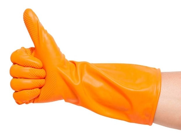 online tutorials gets a thumbs up in orange gloved hand