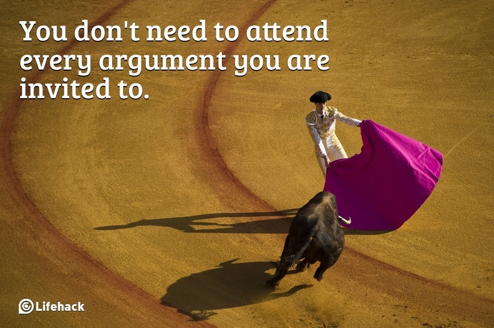 Difficult customers invite you to argue, man at bullfight with flag