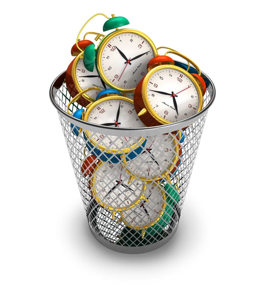Time Wasters basket of clocks