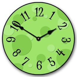 green clock to keep track of sales