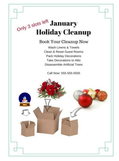 Holiday Cleanup Flyer upsell, Savvy Cleaner