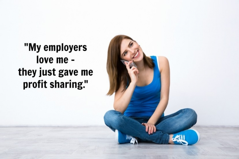 Employee Retention - Girl on phone bragging about profit sharing, Savvy Cleaner