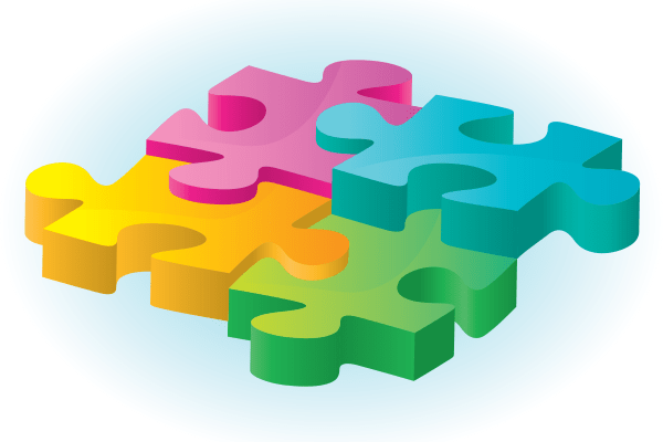 Multi colored puzzle pieces