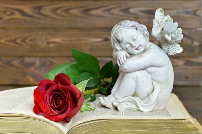 Angel on book smiling next to a rose