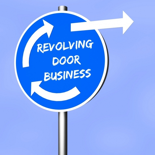 Training House Cleaning Employees Revolving Door Business Sign