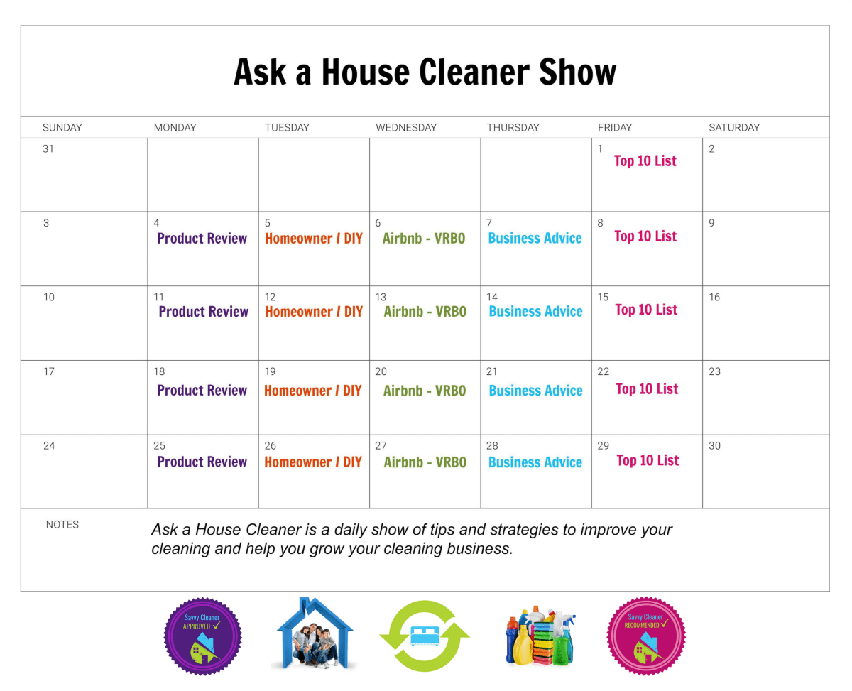 Ask a House Cleaner Show Calendar