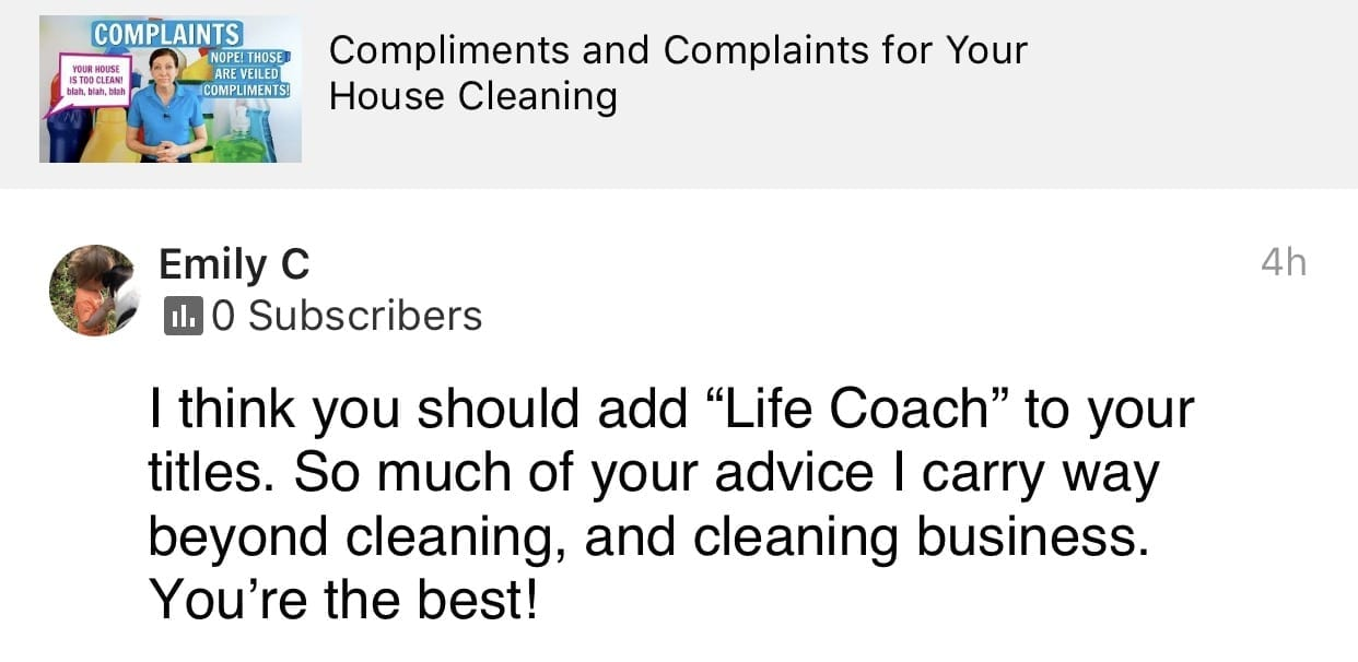 I think you should add life coach to your titles, Ask a House Cleaner Testimonial