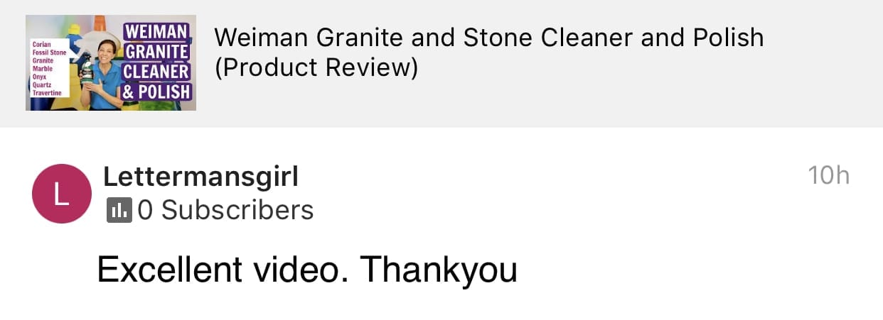 Excellent Video, Thank You, Savvy Cleaner Product Review - Weiman, Testimonial
