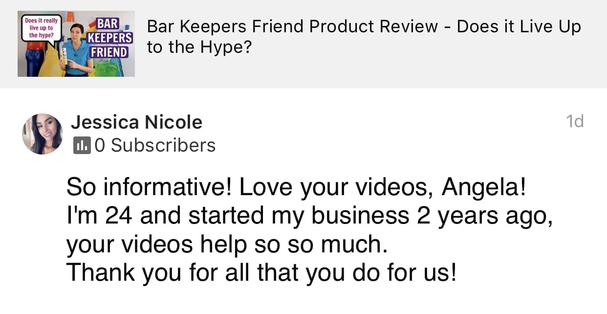 So Informative, Love your videos, Savvy Cleaner Product Review, Bar Keepers Friend, Testimonial