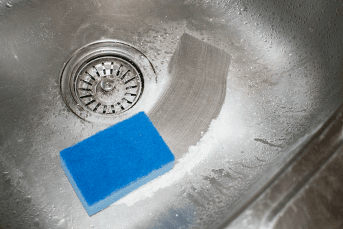 Cleaning Sink with Powdered Cleanser - Cleanser Illustration