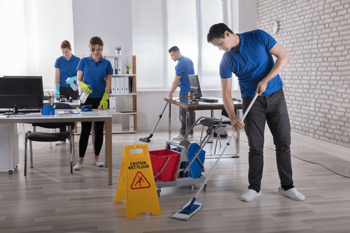 Janitors Cleaning an Office - Cleaning Illustration