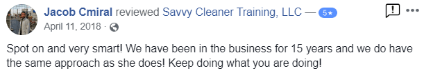 Spot on and very smart Savvy Cleaner Training Testimonial