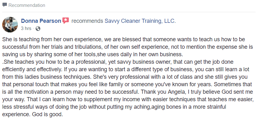 We are blessed that someone wants to teach us, Savvy Cleaner Consulting Testimonial