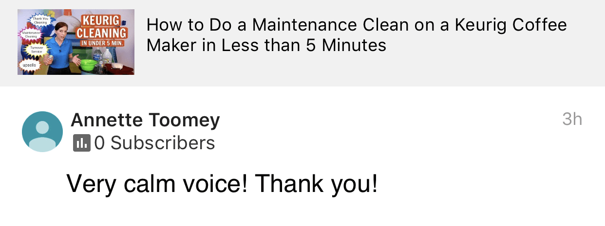 Calm Voice, Savvy Cleaner Product Review Testimonial