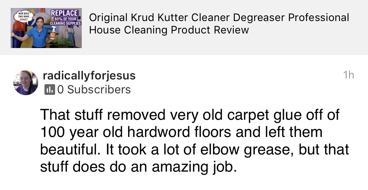 Krud Kutter Does an Amazing Job, Savvy Cleaner Product Review Testimonial