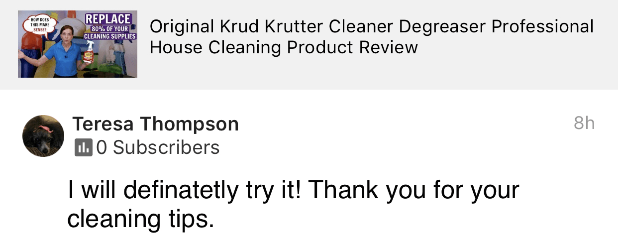Thank you for your cleaning tips, Savvy Cleaner Product Review Testimonial
