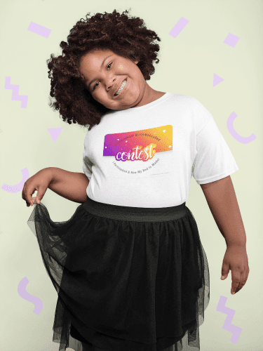 Let's Make a Bed Contest, Savvy Cleaner-plus-size-tee-on-a-cheerful-girl-with-afro-hair