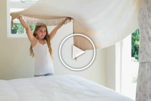 LetsMakeaBed - Girl helps Mom Make Bed