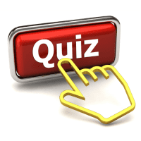 Red 3d Button with Hand on Quiz