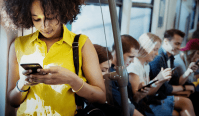 FAQ - No Computer, Millennial on phone in subway