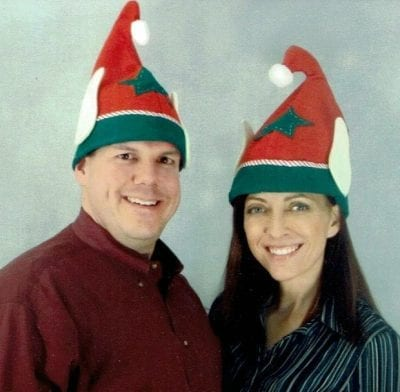 Pat and Angela with Elf Hats