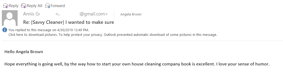 Your Book is Excellent - How to Start Your Own House Cleaning Company Testimonial