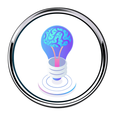 Brain Lightbulb Idea Button 500 x 500