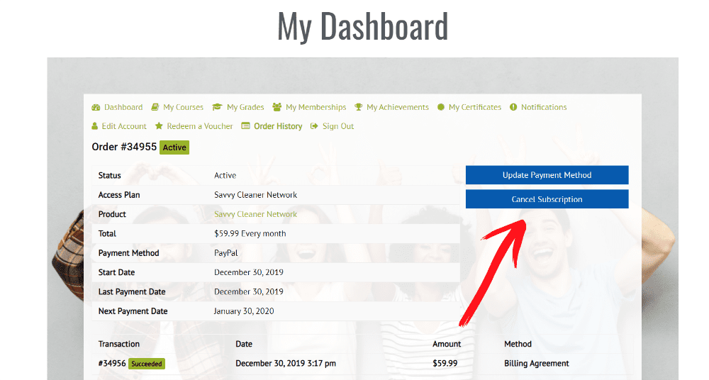 Click on Order History on your dashboard