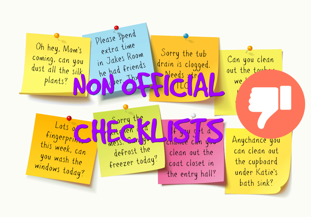 Non-Official Checklist - worksheets vs. checklists - thumbs down