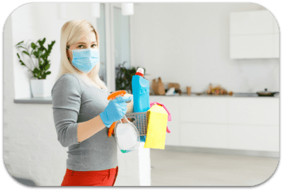 Essential House Cleaner Procedures House Cleaner wears face mask