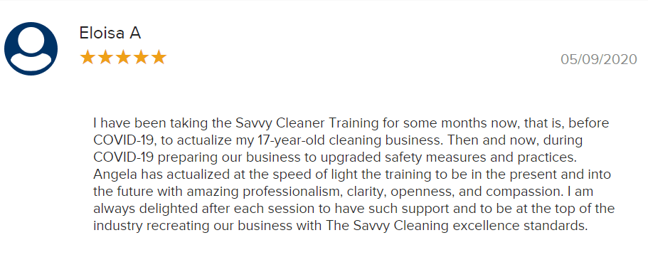 Eloisa A. BBB Savvy Cleaner Training Review