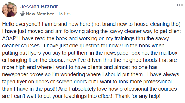 Jessica Brandt, Savvy Cleaner Training Review