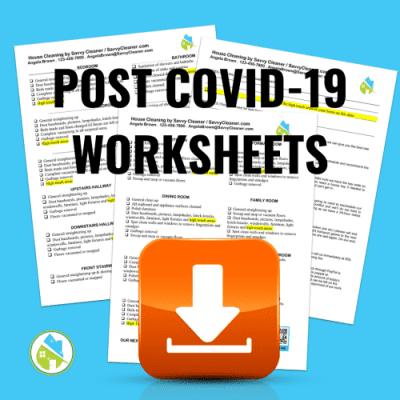 Post Covid-19 Worksheets, Angela Brown, Savvy Cleaner