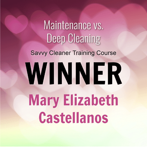 Mary Castellanos Winner Savvy Cleaner Training Course