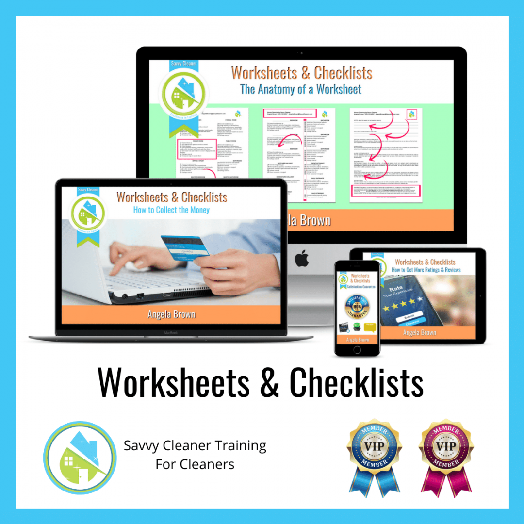 03 Worksheets and Checklists Savvy Cleaner Training Angela Brown