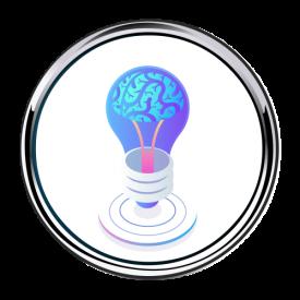 Brain Lightbulb Idea Button 500 x 500