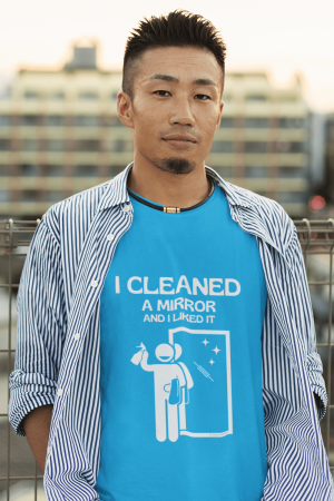 I Cleaned A Mirror Savvy Cleaner Funny Cleaning Shirts Premium T-Shirt