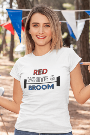 Red White and Broom Savvy Cleaner Funny Cleaning Shirts Women's Classic Tee