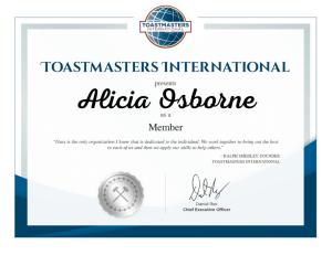 Toastmasters Certificate