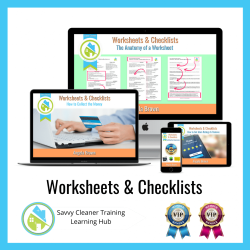 Worksheets & Checklists - Instagram, Savvy Cleaner Training Course