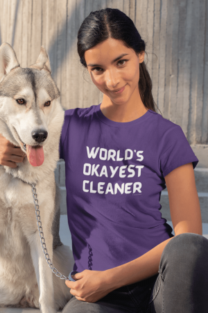 Worlds Okayest Cleaner Savvy Cleaner Funny Cleaning Shirts Women's Standard T-Shirt